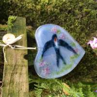 Handmade Fused Glass Heart with Swallow thumbnail