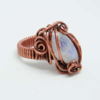 Antiqued Copper and Moonstone Ring thumbnail