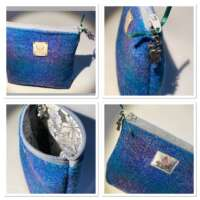 Bright Blue Harris Tweed Handy Bag thumbnail