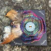 Multi Coloured Tweed Brooch with Feathers thumbnail