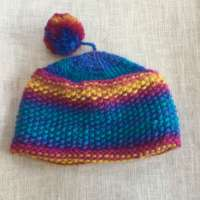 Turquoise and Pink Wool Hat thumbnail