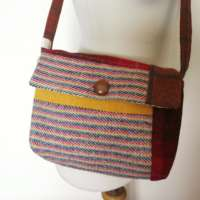 Harris Tweed Orange Shoulder Bag (small) thumbnail