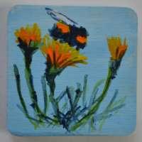 Bee and Marigolds Brooch thumbnail