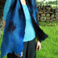 Hand Felted Blue Scarf thumbnail