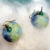Cheery Blues Felted Earrings thumbnail