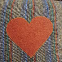 Autumnal Harris Tweed Cushion with Heart Appliqué thumbnail