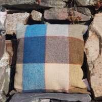 Blue and Brown Check Harris Tweed Cushion thumbnail