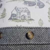Grey Harris Tweed Cushion with Woodland Panel thumbnail
