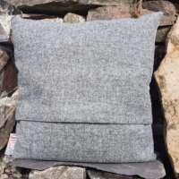 Grey Harris Tweed Cushion with Highland Cow Panel thumbnail
