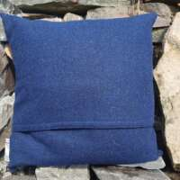 Blue Harris Tweed Cushion with Blue Bouclé Panel thumbnail