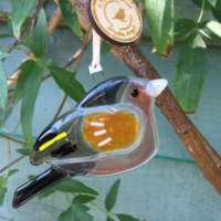 Fused Glass Chaffinch Hanging Decoration thumbnail