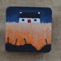 Cottage with Orange Field Brooch thumbnail