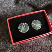 Green Harris Tweed Cufflinks thumbnail