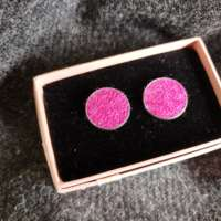Pink Harris Tweed Cufflinks thumbnail