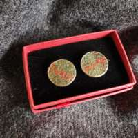 Green and Orange Harris Tweed Cufflinks thumbnail