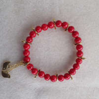 Coral Beads and Birds Bracelet thumbnail