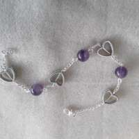 Valentine Hearts Bracelet with Amethyst thumbnail