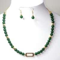 Jade and Gold Tone Jewellery Set thumbnail