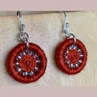 Deep Orange Dorset Button Earrings thumbnail