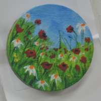 Hand Painted Flowers in Field Brooch thumbnail