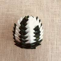 Cream and Green Christmas Cone Decoration thumbnail