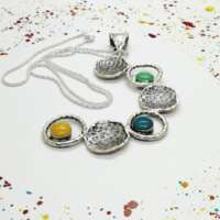 Green, Yellow, Turquoise Cup Pendant thumbnail