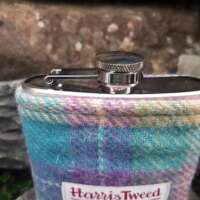6oz Hip Flask with Pastel Check Harris Tweed Sleeve thumbnail