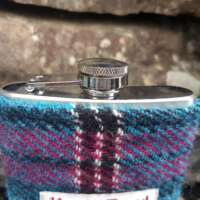 6oz Hip Flask with Blue Check Harris Tweed Sleeve thumbnail