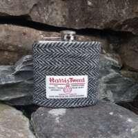 6oz Hip Flask with Black and Grey Herringbone Harris Tweed Sleeve thumbnail