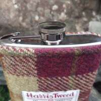 6oz Hip Flask with Maroon and Beige Check Harris Tweed Sleeve thumbnail
