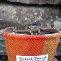 6oz Hip Flask with Orange Check Harris Tweed Sleeve thumbnail