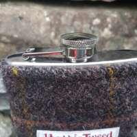 6oz Hip Flask with Brown Check Harris Tweed Sleeve thumbnail