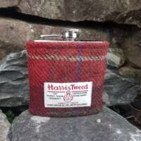 6oz Hip Flask with Red Check Harris Tweed Sleeve thumbnail