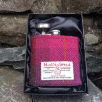 6oz Hip Flask with Pink and Purple Check Harris Tweed Sleeve thumbnail