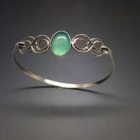 Sea Agate in Silver Swirl Bracelet thumbnail
