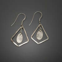 Ovals with Diamonds Silver Earrings thumbnail