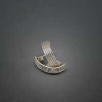 Ribbed Silver Earrings thumbnail