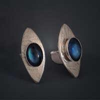 Silver with Paua Earrings thumbnail