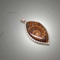 Ammonite Fossil Silver Necklace thumbnail