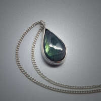 Shimmering Teardrop Silver Necklace thumbnail