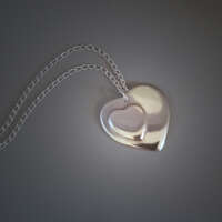 Twin Hearts Silver Necklace thumbnail