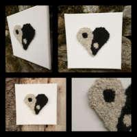 Yin-yang Wool Heart Textile Wall Art thumbnail