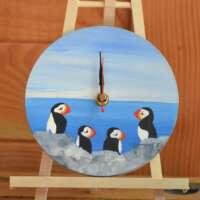 Round Puffins Wall Clock thumbnail