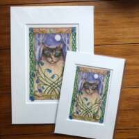 Moon Meow Mounted Print thumbnail