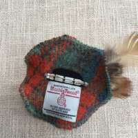Olive Green and Orange Check Harris Tweed Brooch thumbnail