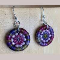 Purple, Pink and Green Dorset Button Earrings thumbnail