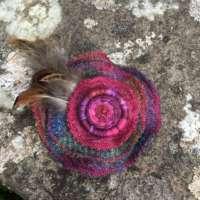 Dark Red, Purple and Blue Harris Tweed Brooch thumbnail