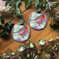 Christmas Robin Hanging Ornament thumbnail