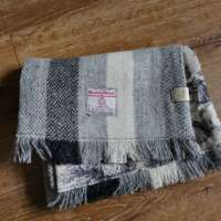 Handwoven Harris Tweed Grey Scarf thumbnail