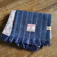Handwoven Harris Tweed Blue & Lilac Scarf thumbnail
